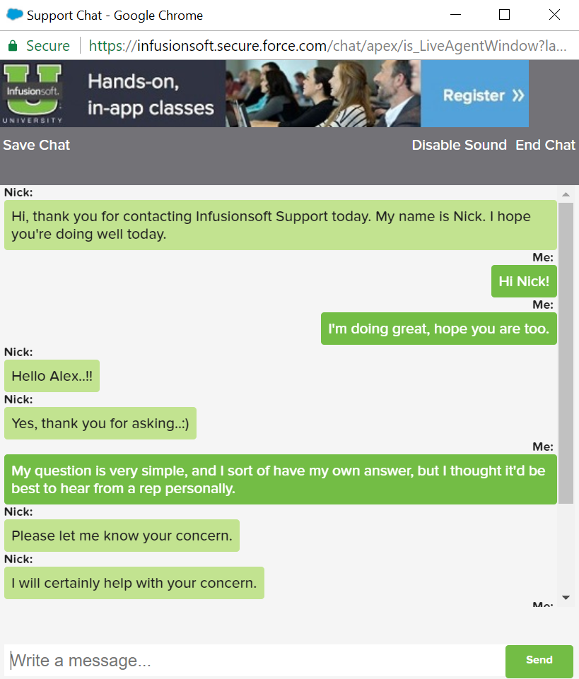 support chat 2 infusionsoft review just digital