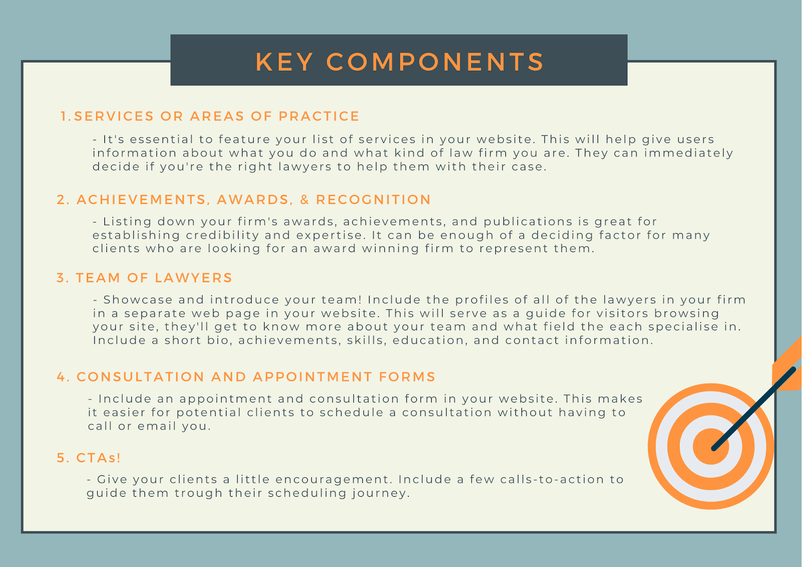 key components best law firm websites