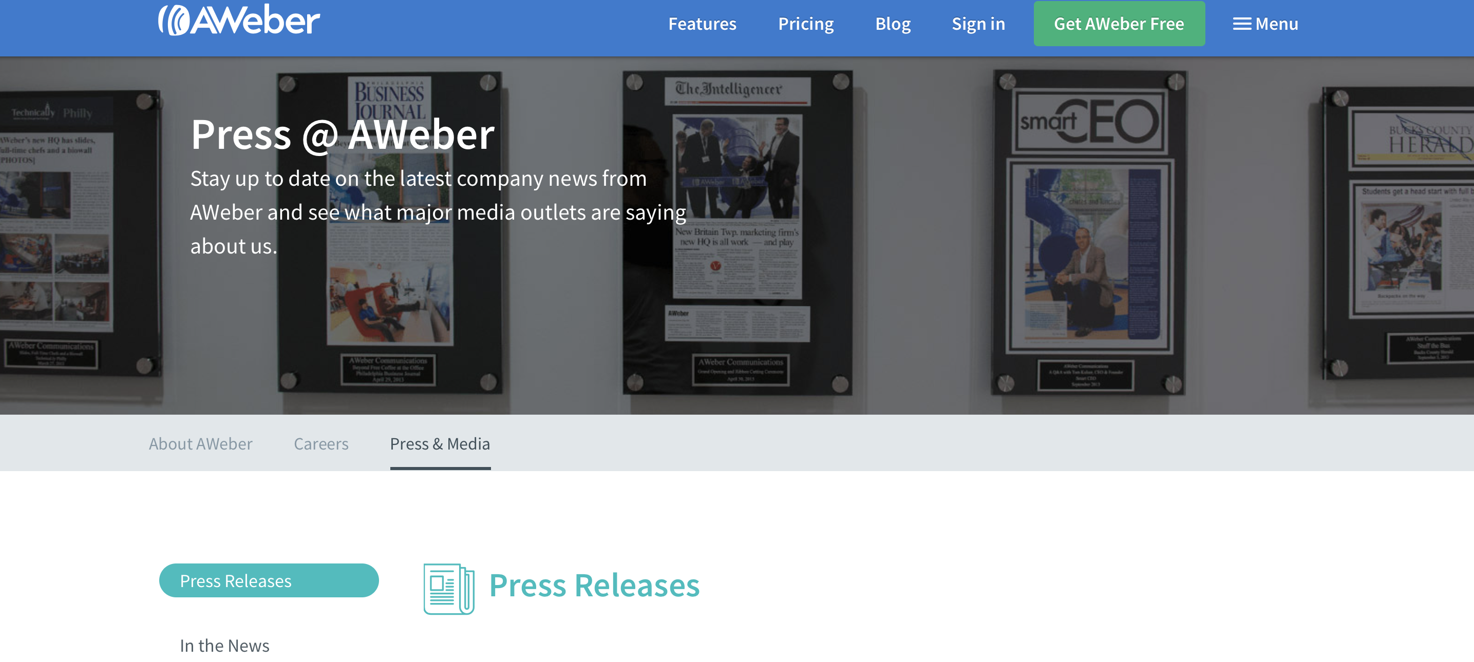 AWeber Press Release page hero section screenshot