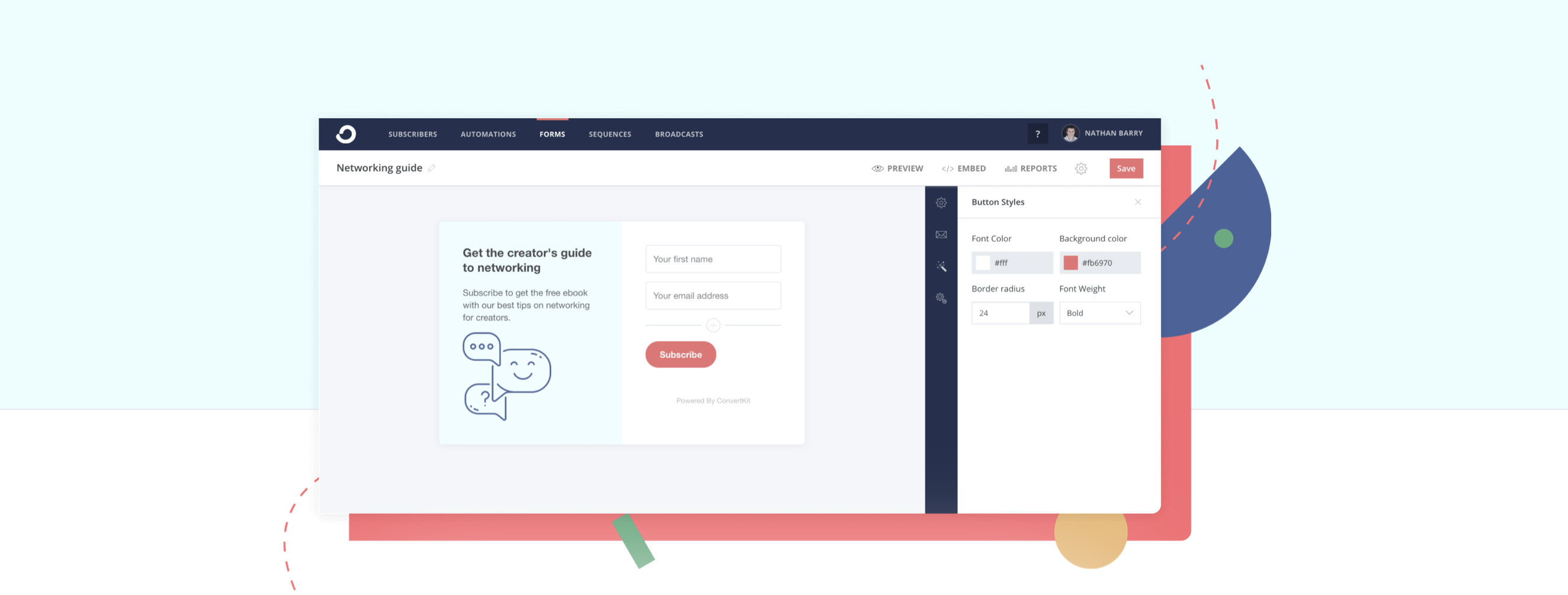 ConvertKit Email Signup Forms Hero Section Screenshot
