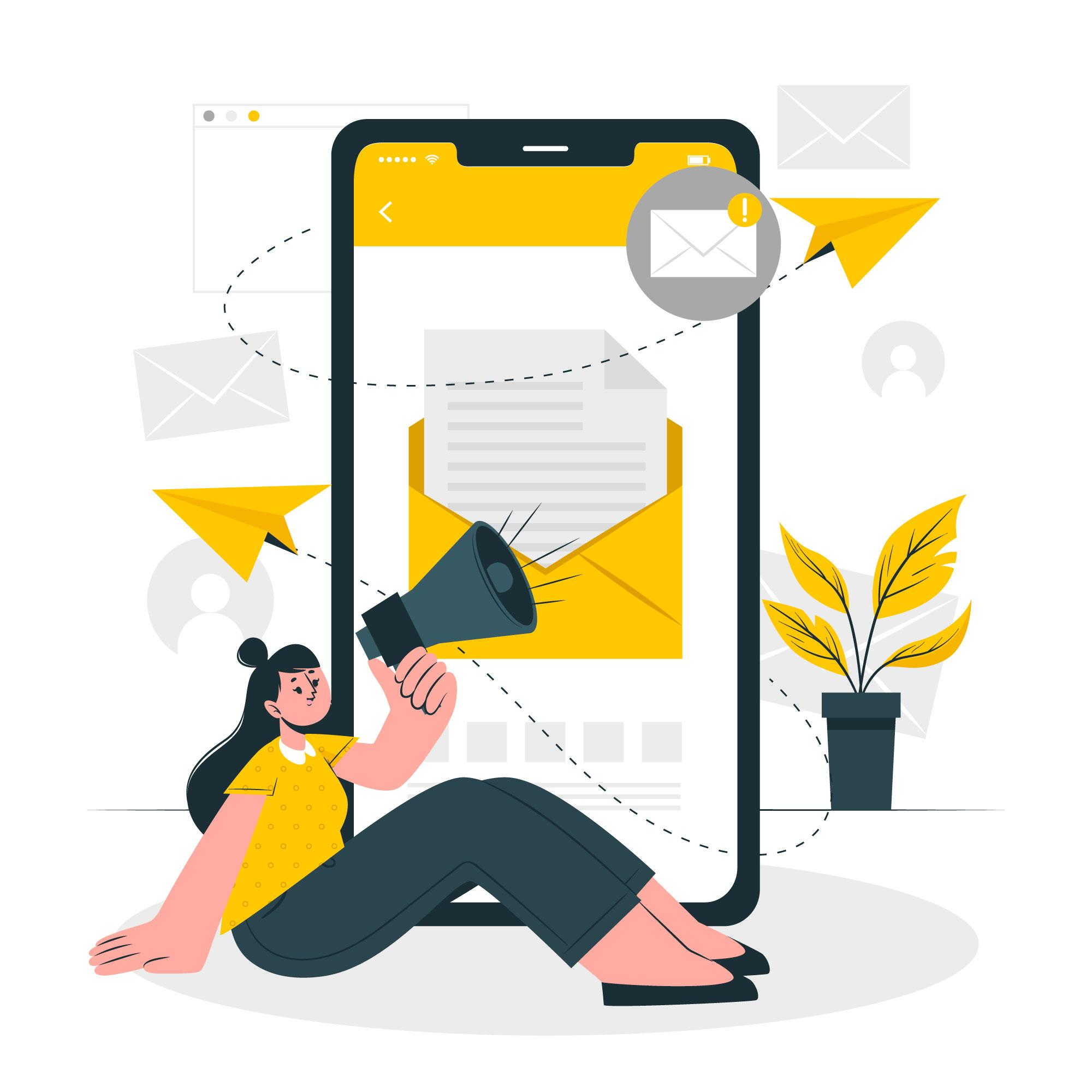 Woman sits on the floor holding a megaphone with a big cellphone as the background with an email icon
