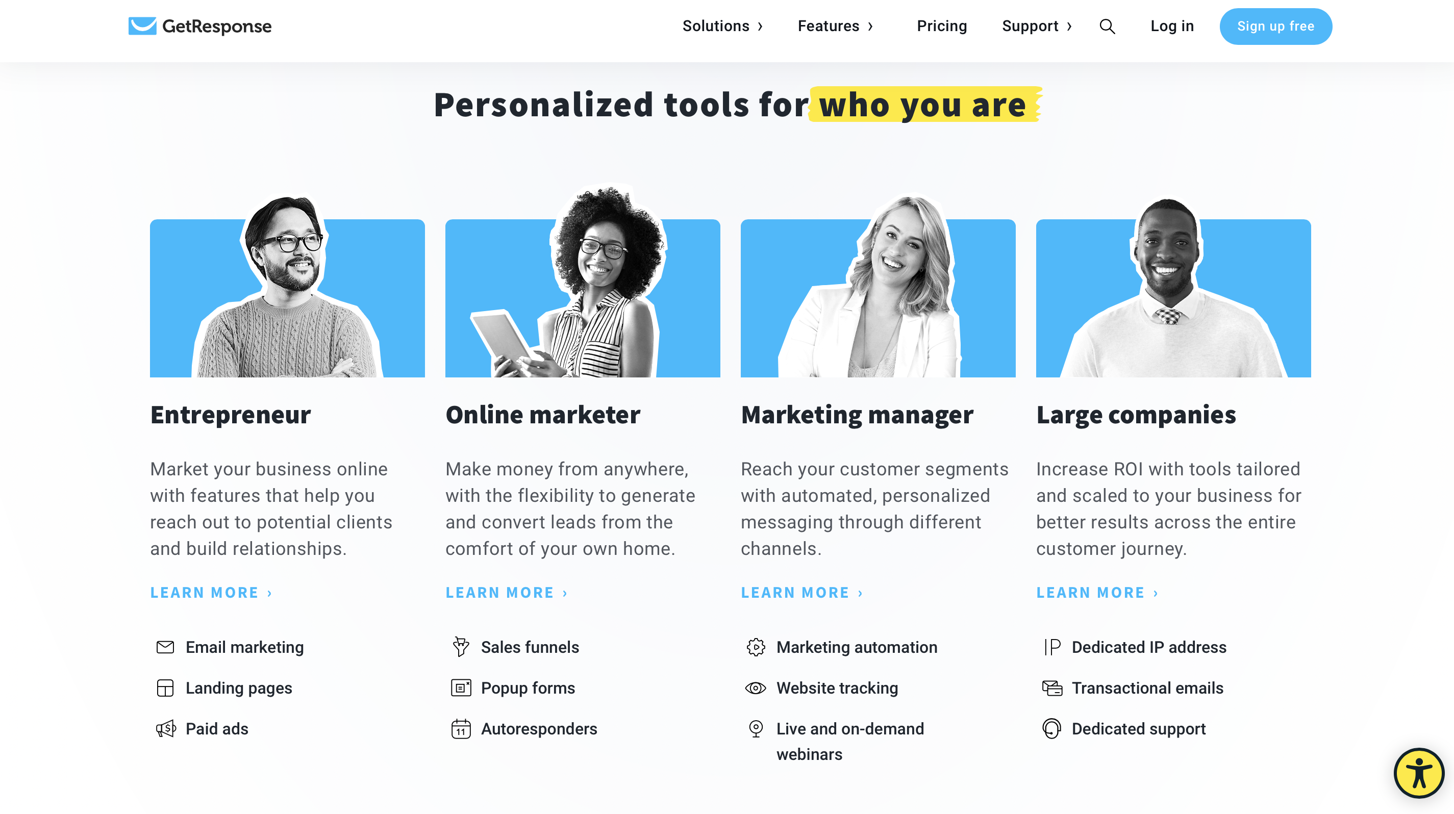 GetResponse Homepage Personalized tools for you section