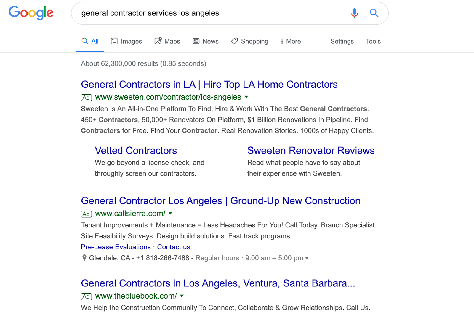 Google Paid Ads Search Results Screenshot