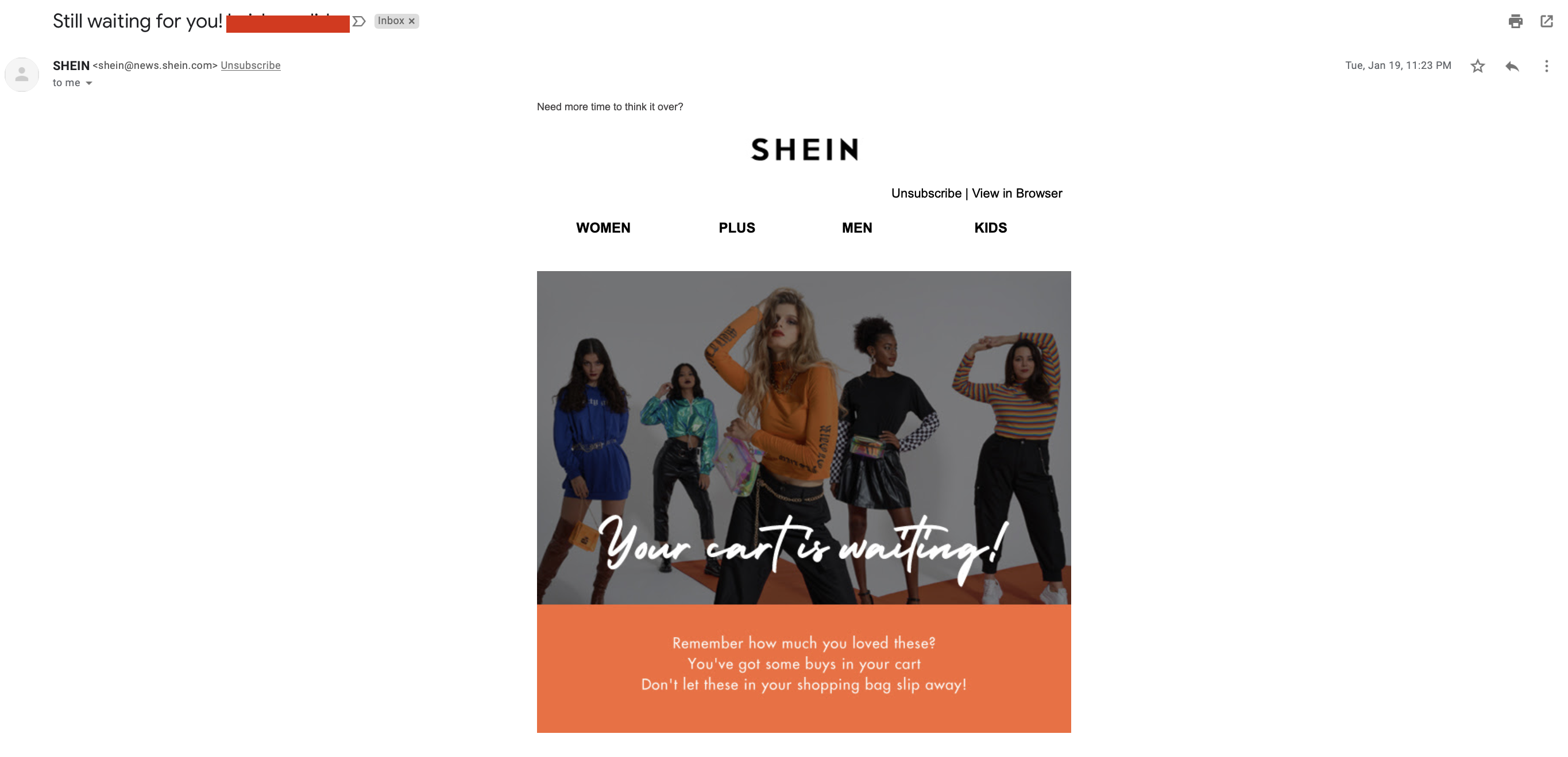 SHEIN segmented and targeted subject line example
