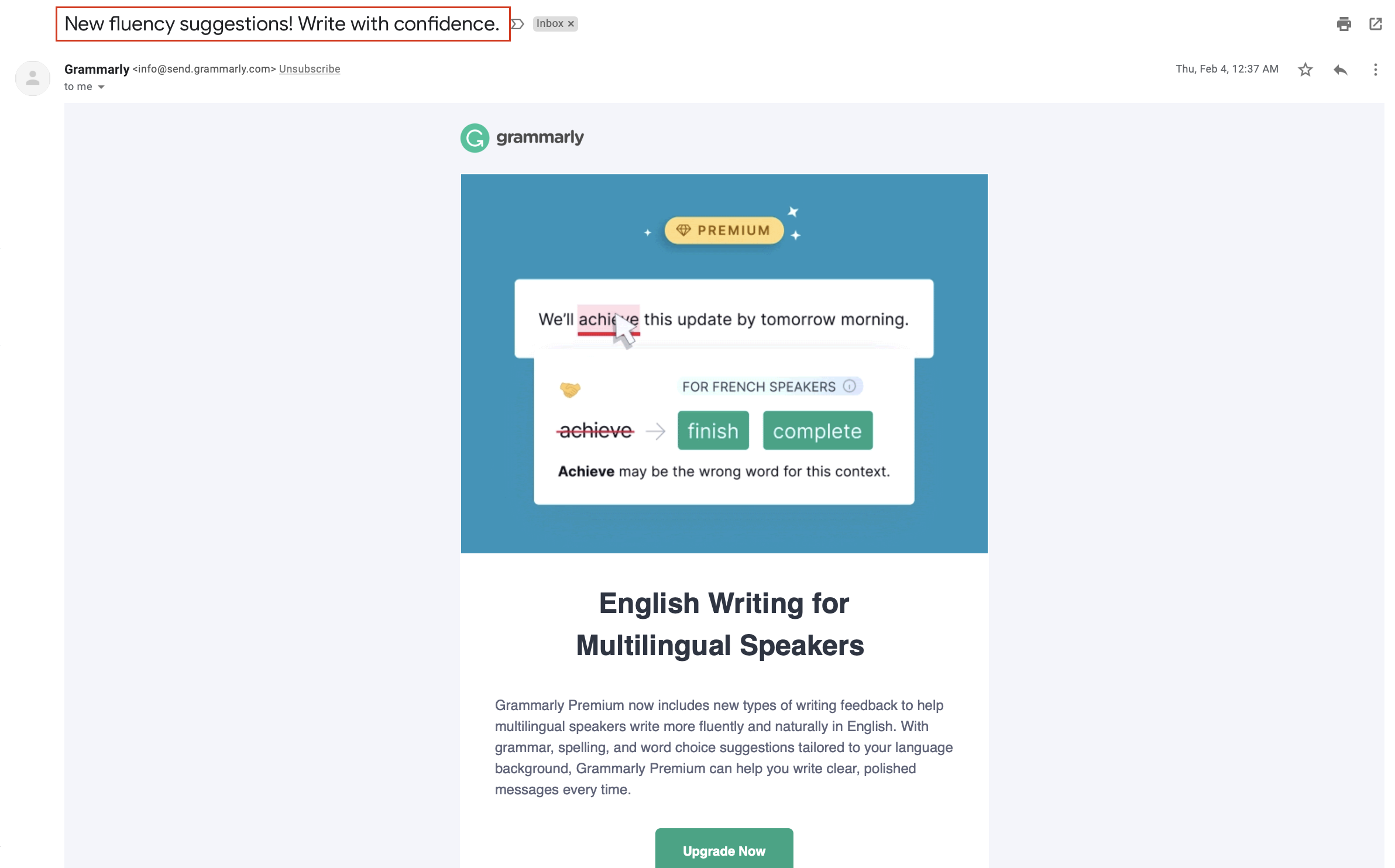 Grammarly Short Subject Line Example