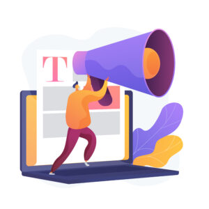 Man with big megaphone holding it up against a big blog post