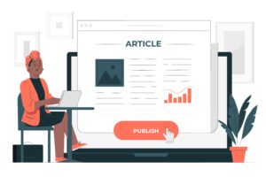 Copywriting VS Content writing woman sitting on desk with big screen showing article behind her