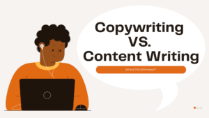 Copywriting VS content writing cover image man typing on laptop
