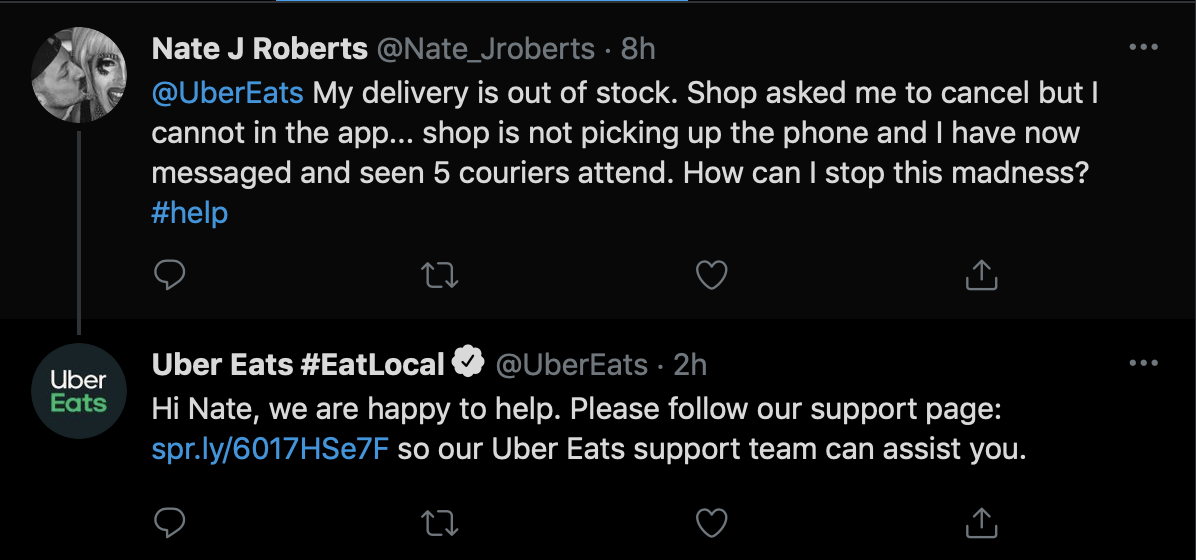 Uber Eats Twitter Page