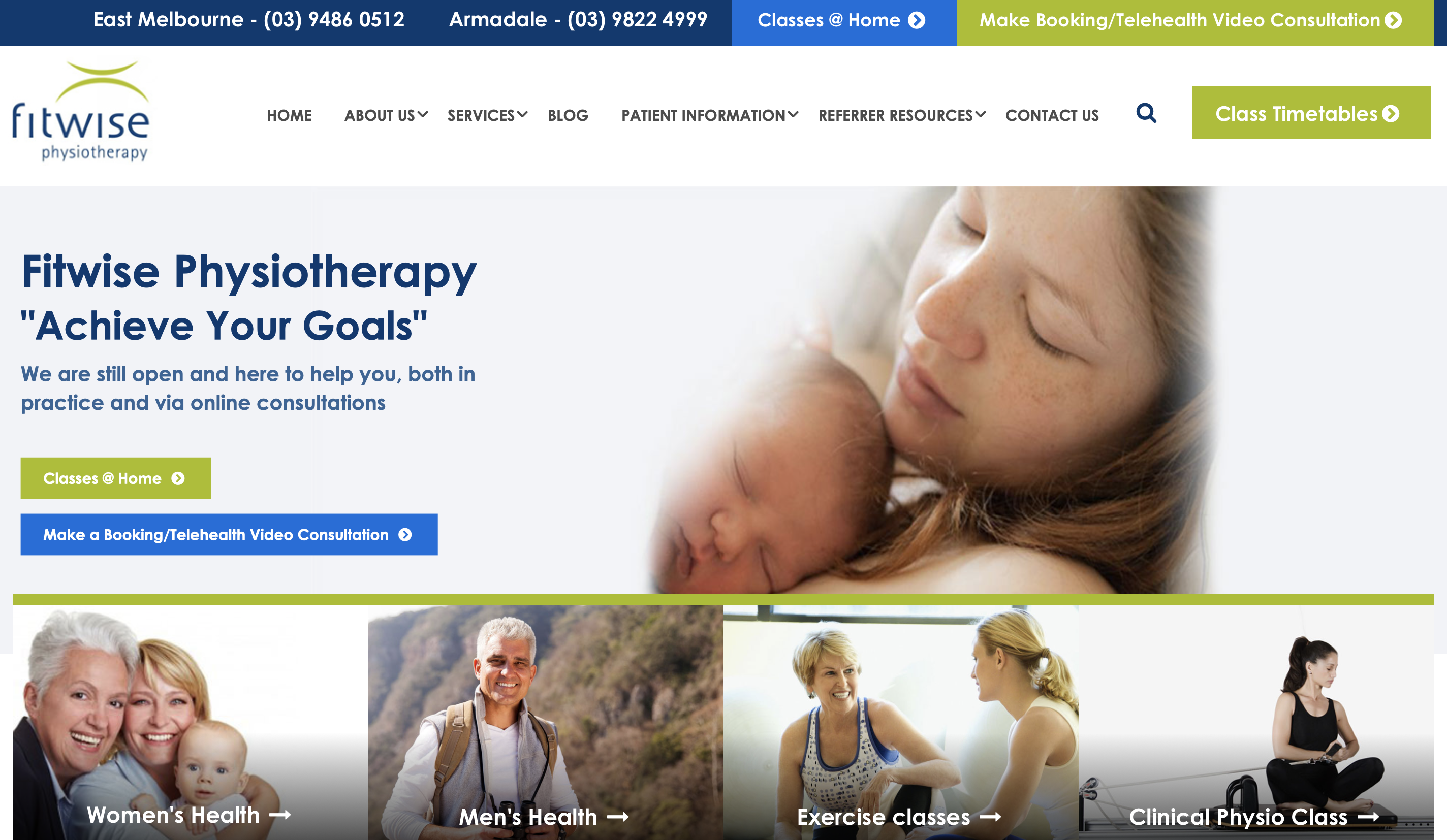 Fitwise Physiotherapy healthcare web design