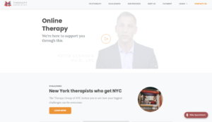 Therapy group of NYC healthcare web design