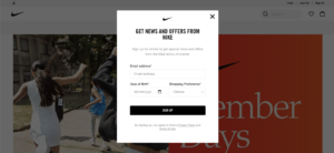 Nike pop up opt in email sign up form