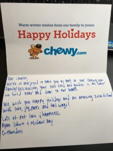 chewy thank you note